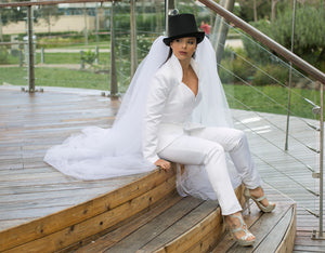 Bridal Jacket and Trouser suit with detachable tulle train