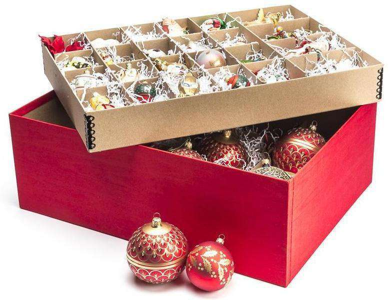 Ornament Storage Box With Adjustable Dividers - Red - 44 ...