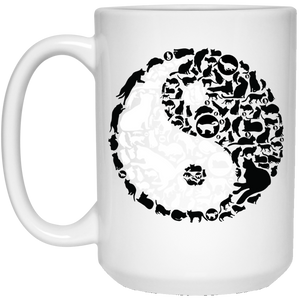 99 - RTP - Caffein Art - Yinyang Cats - Animal Art - 21504 15 oz. White Mug