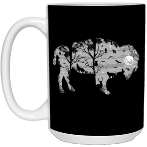 97 - RTP - Caffein Art - Wild Bison - Animal Art - 21504 15 oz. White Mug