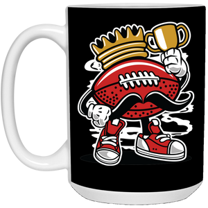 147 - RTP - Roach Graphics - Football King-01 - 21504 15 oz. White Mug