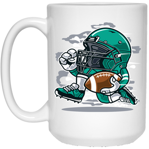 148 - RTP - Roach Graphics - Football Player-01 - 21504 15 oz. White Mug
