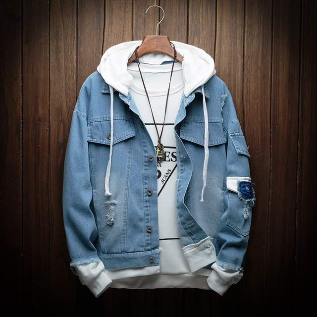 Hooded Denim Jacket (4 colors)
