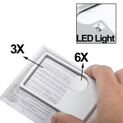 Credit Card Size Magnifier for Wallet with LED Light 6X 3X