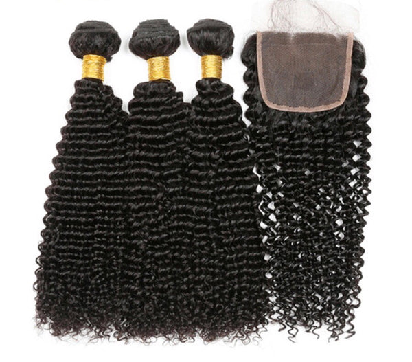 Luxxe Curly Bundle Deal - 22,24,26 + 20 inch Closure