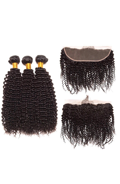 Luxxe Curly Bundle Deal- 18,20,22 + 16 inch Frontal