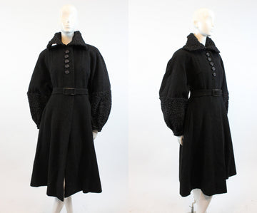 1930s wool boucle coat huge balloon sleeves | fur astrakhan coat |  large