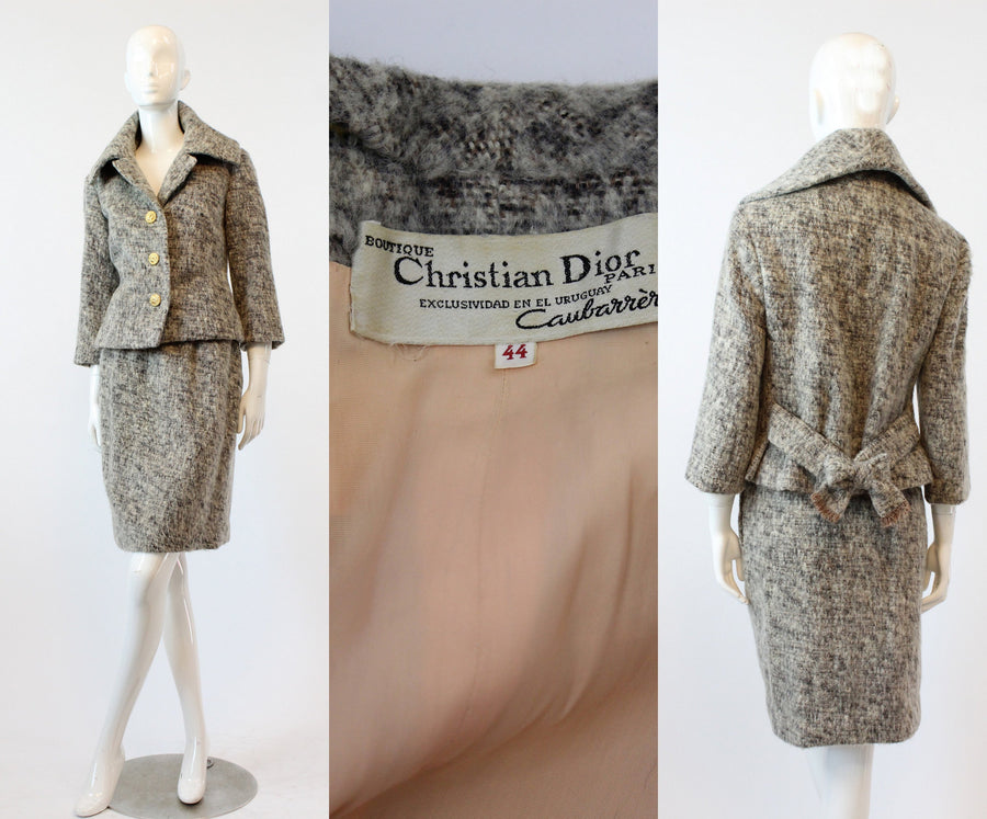 1960s CHRISTIAN DIOR suit | mohair jacket and skirt | xs JMC