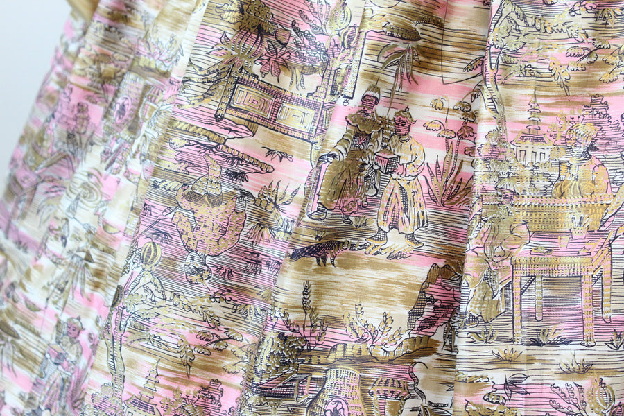 1950s John Wolfe skirt | polished cotton Asian print | small