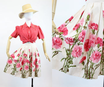 1950s novelty print skirt xs | vintage carnation print cotton pique skirt | new in