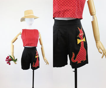 1950s cat applique shorts set xs | vintage crop top and high waist shorts outfit