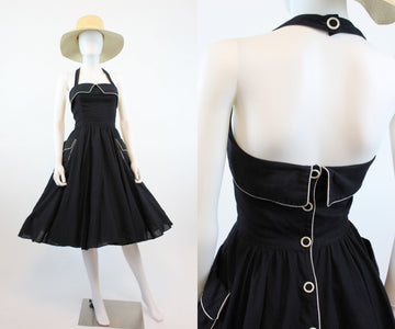 1970s black cotton linen halter dress xs | vintage 70s does 50s full skirt dress | new in