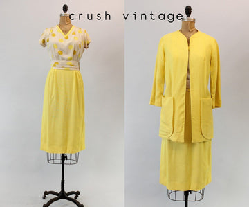 1940s Paul Sachs linen dress set xs | polka dot two piece outfit