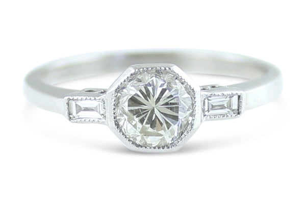 Original Art Deco Diamond Solitaire Ring 0.55ct + 0.12ct 18ct Platinum