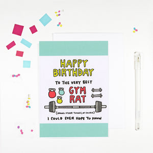 Happy Birthday Gym Rat Birthday Card for Fitness Lovers by Angela Chick