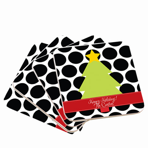 Personalized Polka Dot Christmas Coasters