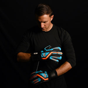 male goalkeeper wearing talon cyclone 2 keeper gloves
