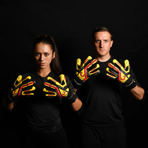 male and female goalkeeper wearing talon ignite gk gloves