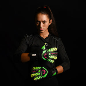 female goalkeeper wearing vortex venom