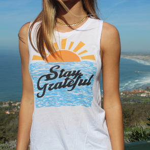 Stay Grateful Ladies' Muscle Tank