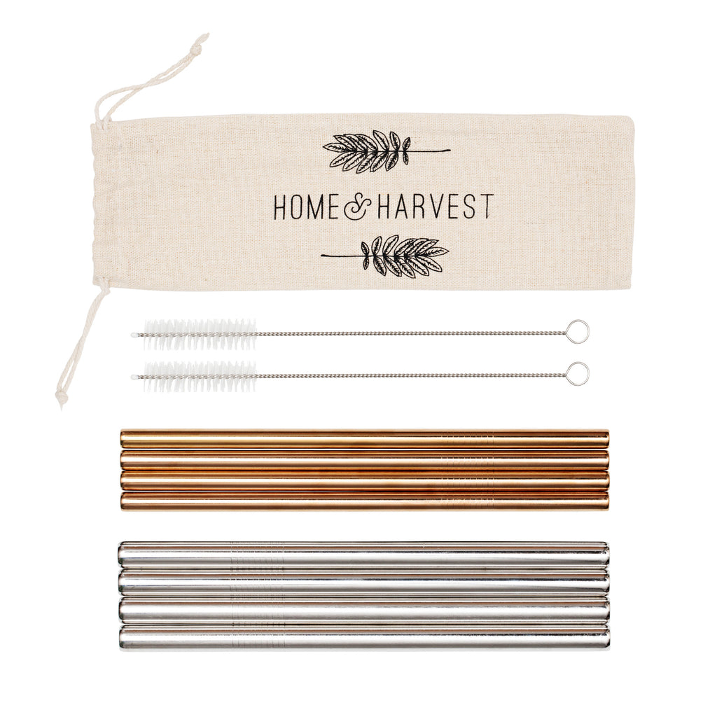 Reusable Stainless Steel Straws ~ Set of 8 Including 4 Extra Wide Smoothie Straws + 4 Rose Gold Straws + 2 Cleaning Brushes