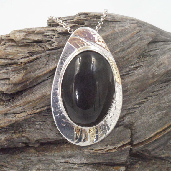 BLACK OBSIDIAN PENDANT set in Silver and Gold