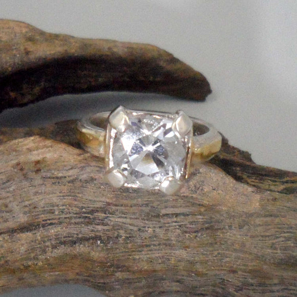 GOLD & SILVER TOPAZ Ring with Square Setting