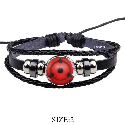 Naruto Rinnegan Eyes Sharingan Black Leather Bracelet