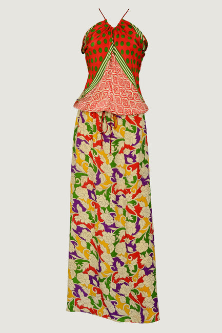 Nataly Silk Gown - Bodice Style Mixed Prints - Limited Edition