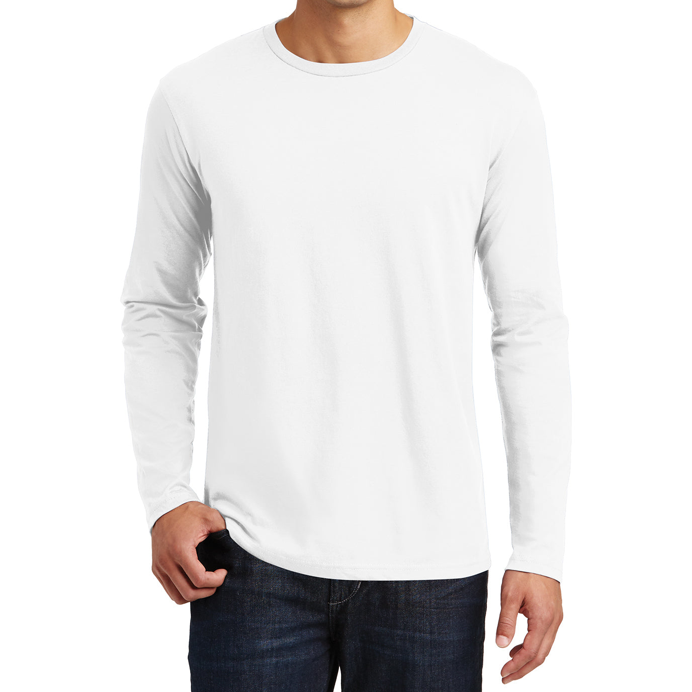 Mens Perfect Weight Long Sleeve Tee - Bright White - Front