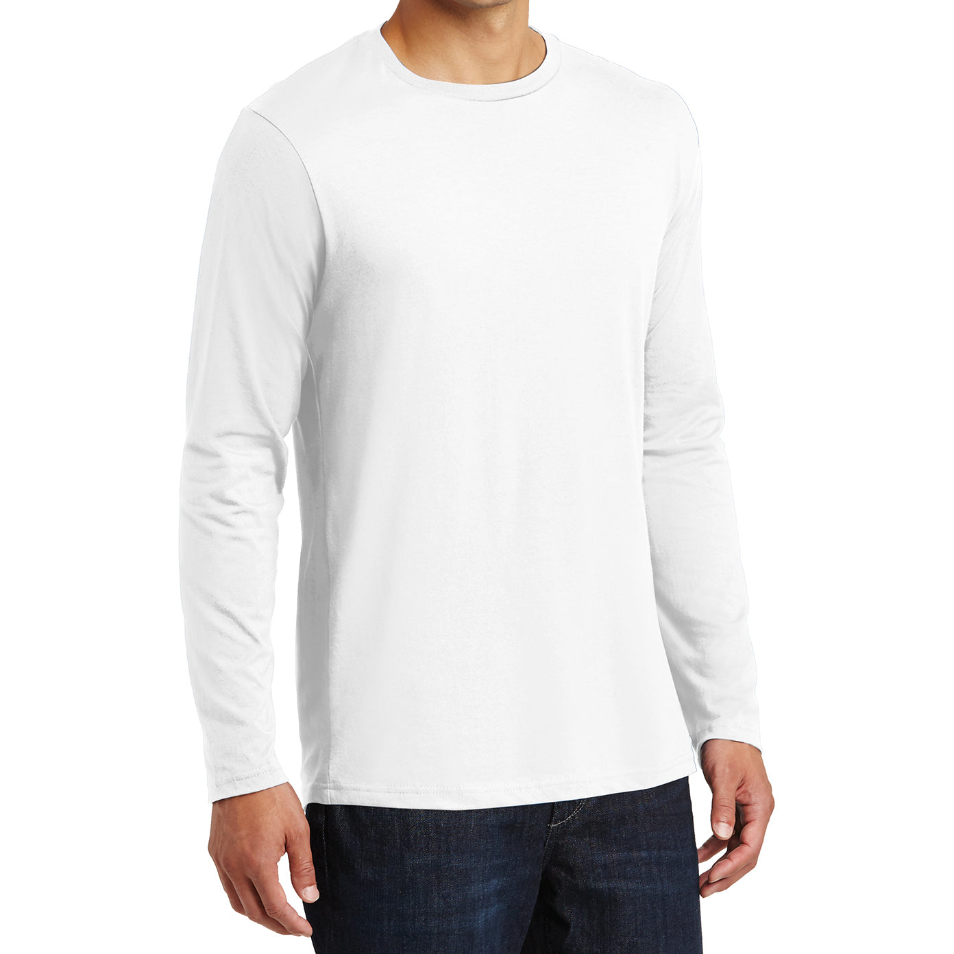 Mens Perfect Weight Long Sleeve Tee - Bright White - Side