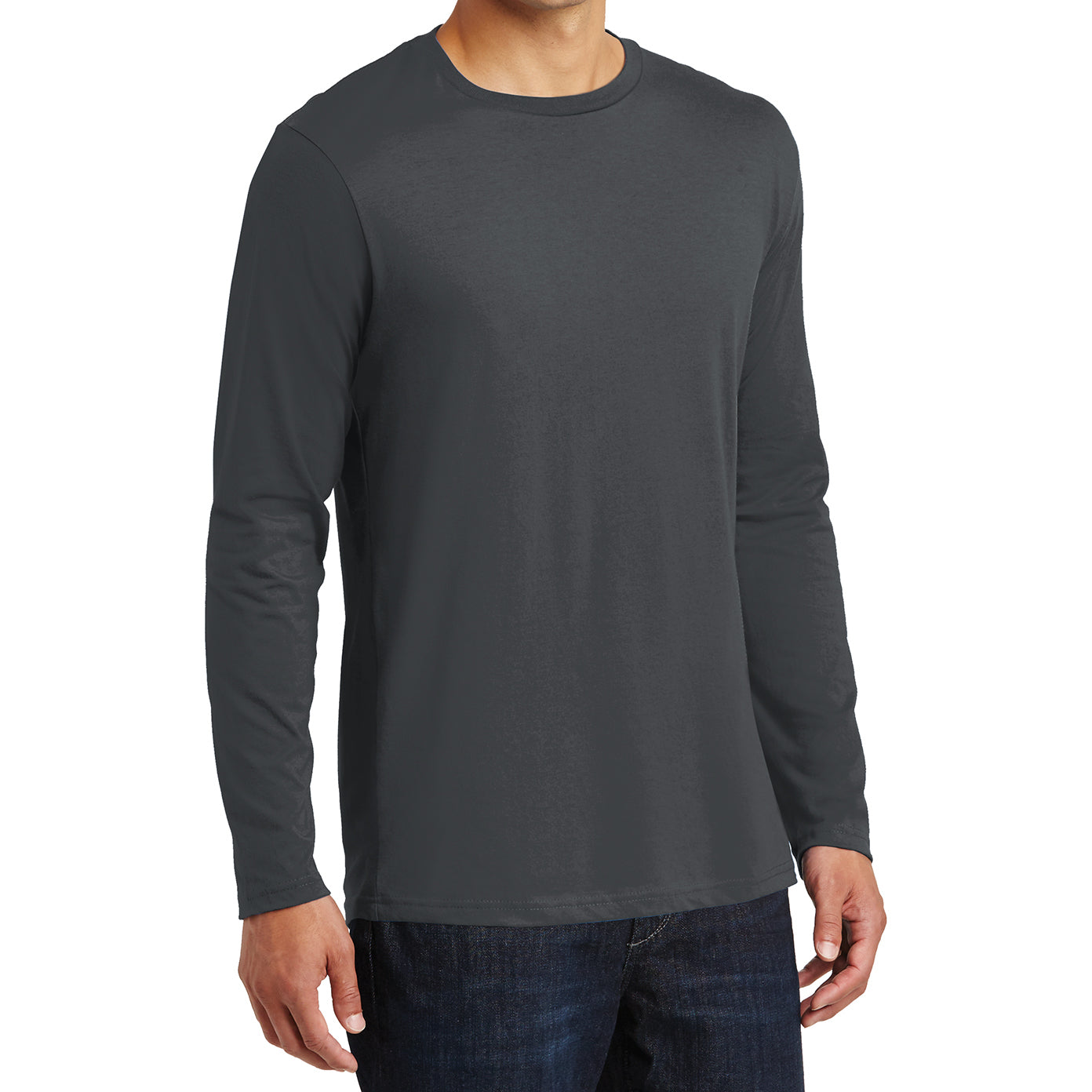 Mens Perfect Weight Long Sleeve Tee - Charcoal - Side