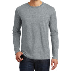 Mens Perfect Weight Long Sleeve Tee - Heathered Steel - Front