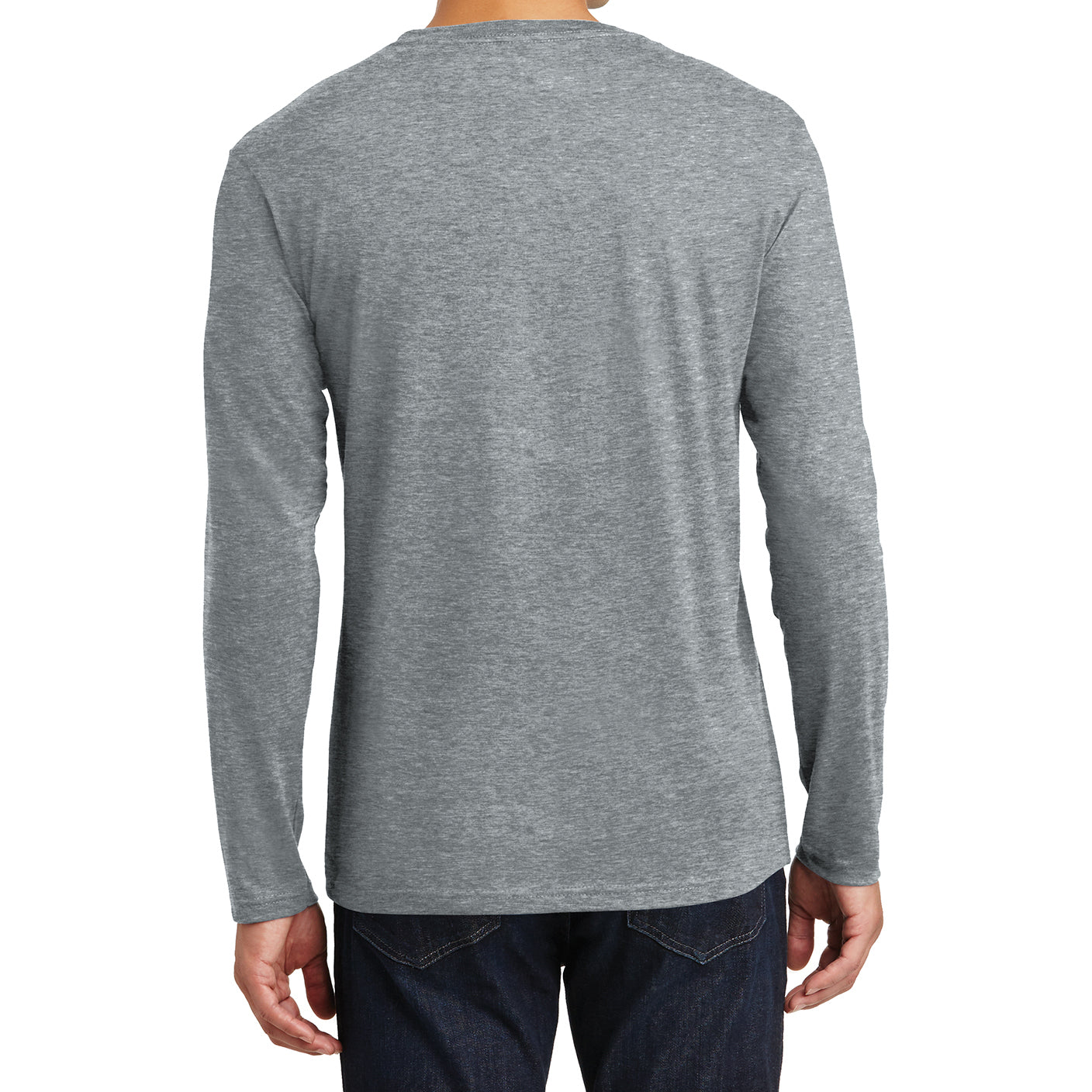 Mens Perfect Weight Long Sleeve Tee - Heathered Steel - Back