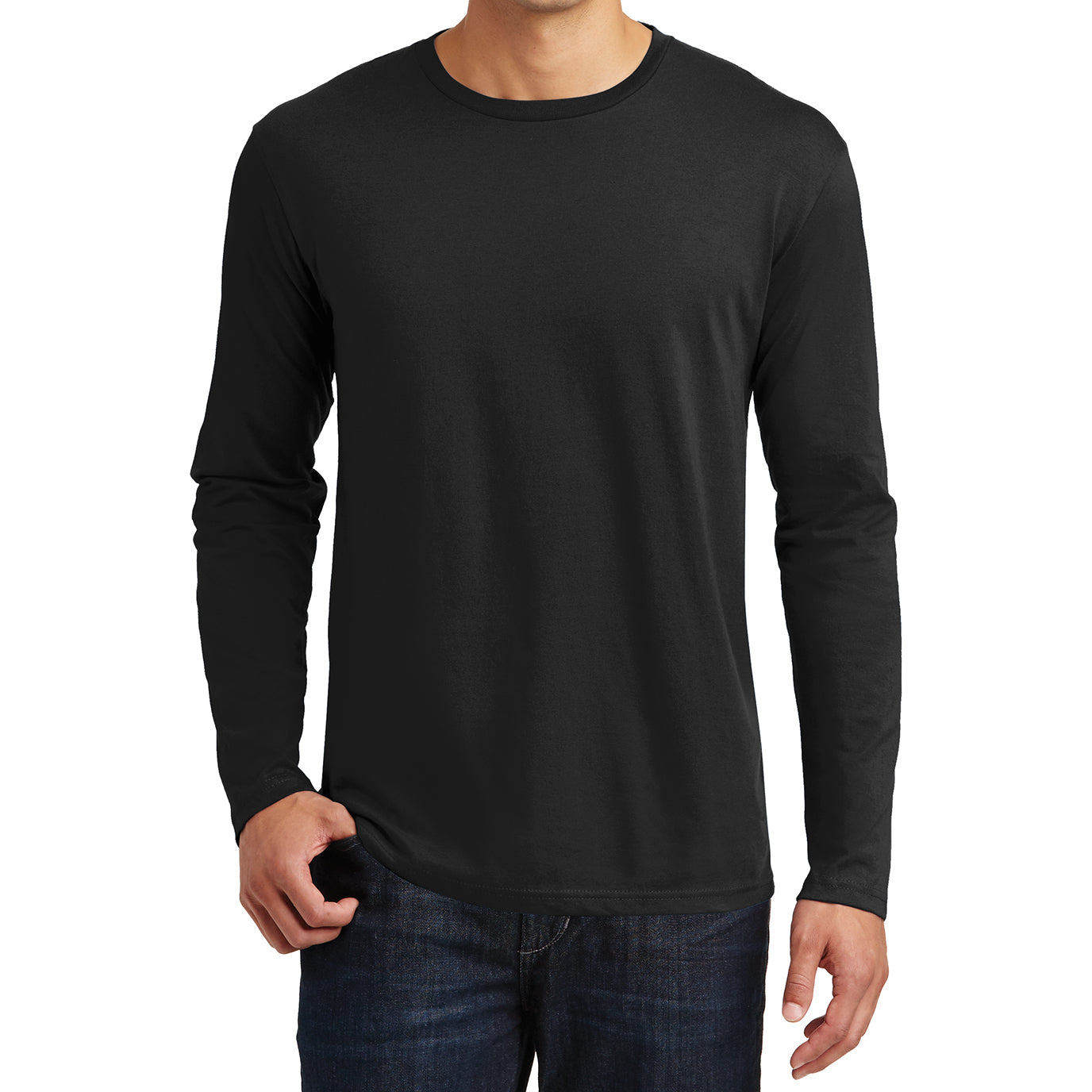 Mens Perfect Weight Long Sleeve Tee - Jet Black - Front