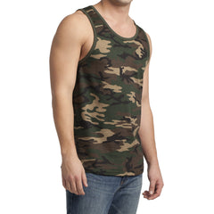 Men's Young Cotton Ringer Tank - Military Camo/ Dark Army