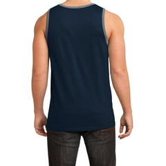 Men's Young Cotton Ringer Tank - New Navy/ Heathered Steel