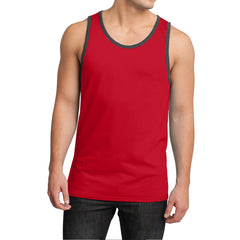 Men's Young Cotton Ringer Tank - New Red/ Charcoal