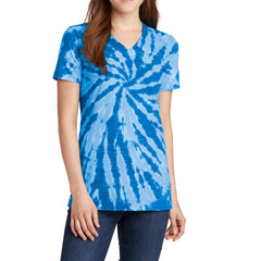 Womens Tie-Dye V-Neck Tee - Royal - Front
