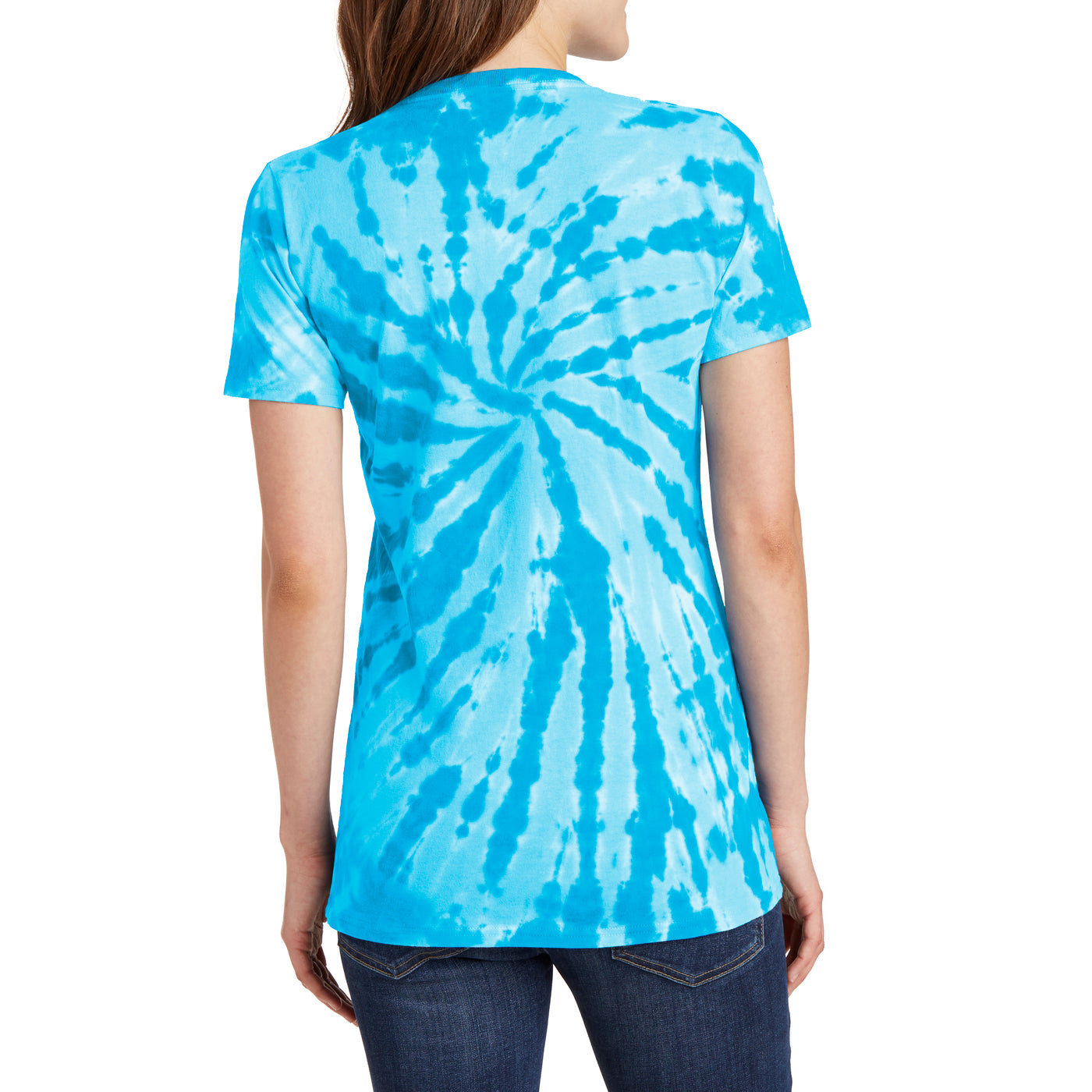Womens Tie-Dye V-Neck Tee - Turquoise - Back
