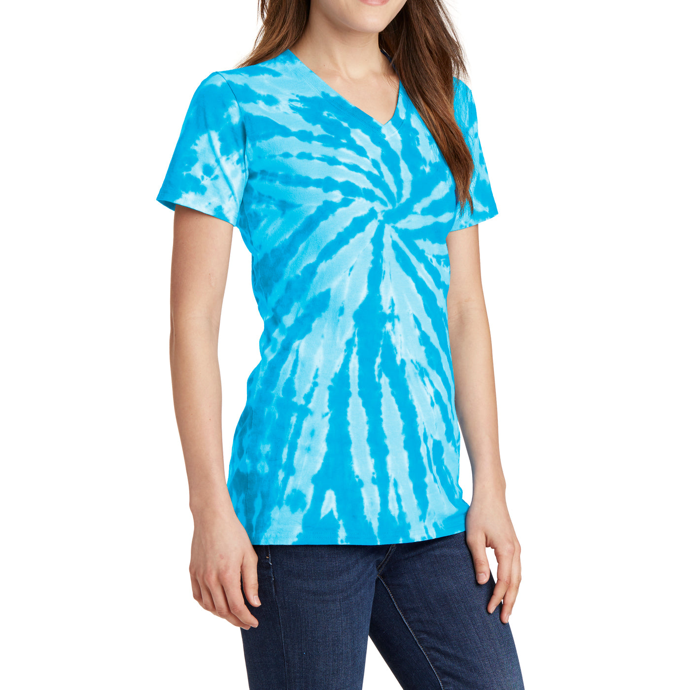 Womens Tie-Dye V-Neck Tee - Turquoise - Side