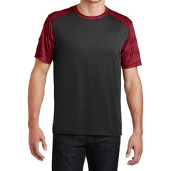 Men's CamoHex Colorblock Tee Shirt Black/ Deep Red Front