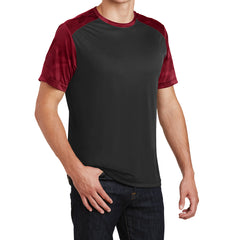 Men's CamoHex Colorblock Tee Shirt Black/ Deep Red Side