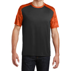 Men's CamoHex Colorblock Tee Shirt Black/ Neon Orange Front