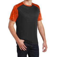 Men's CamoHex Colorblock Tee Shirt Black/ Neon Orange Side