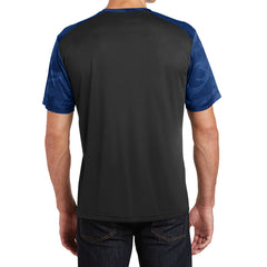 Men's CamoHex Colorblock Tee Shirt Black/ True Royal Back