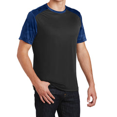 Men's CamoHex Colorblock Tee Shirt Black/ True Royal Side