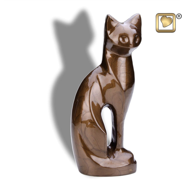 Bronze Cat Pet Funeral Cremation Urn, 16.5 Cubic Inches