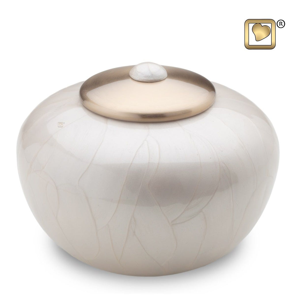Simplicity Pearl Round Adult Funeral Cremation Urn, 110 Cubic Inches
