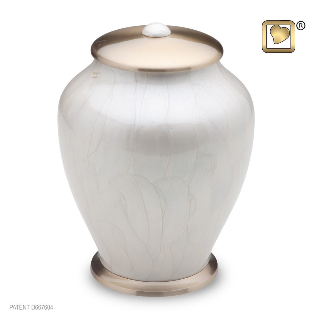 Simplicity Pearl Tall Adult Funeral Cremation Urn,  225 Cubic Inches